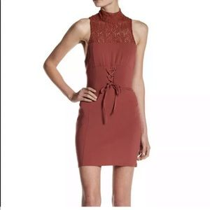 NWOT Free People Intimately Brown Lace Mini Dress